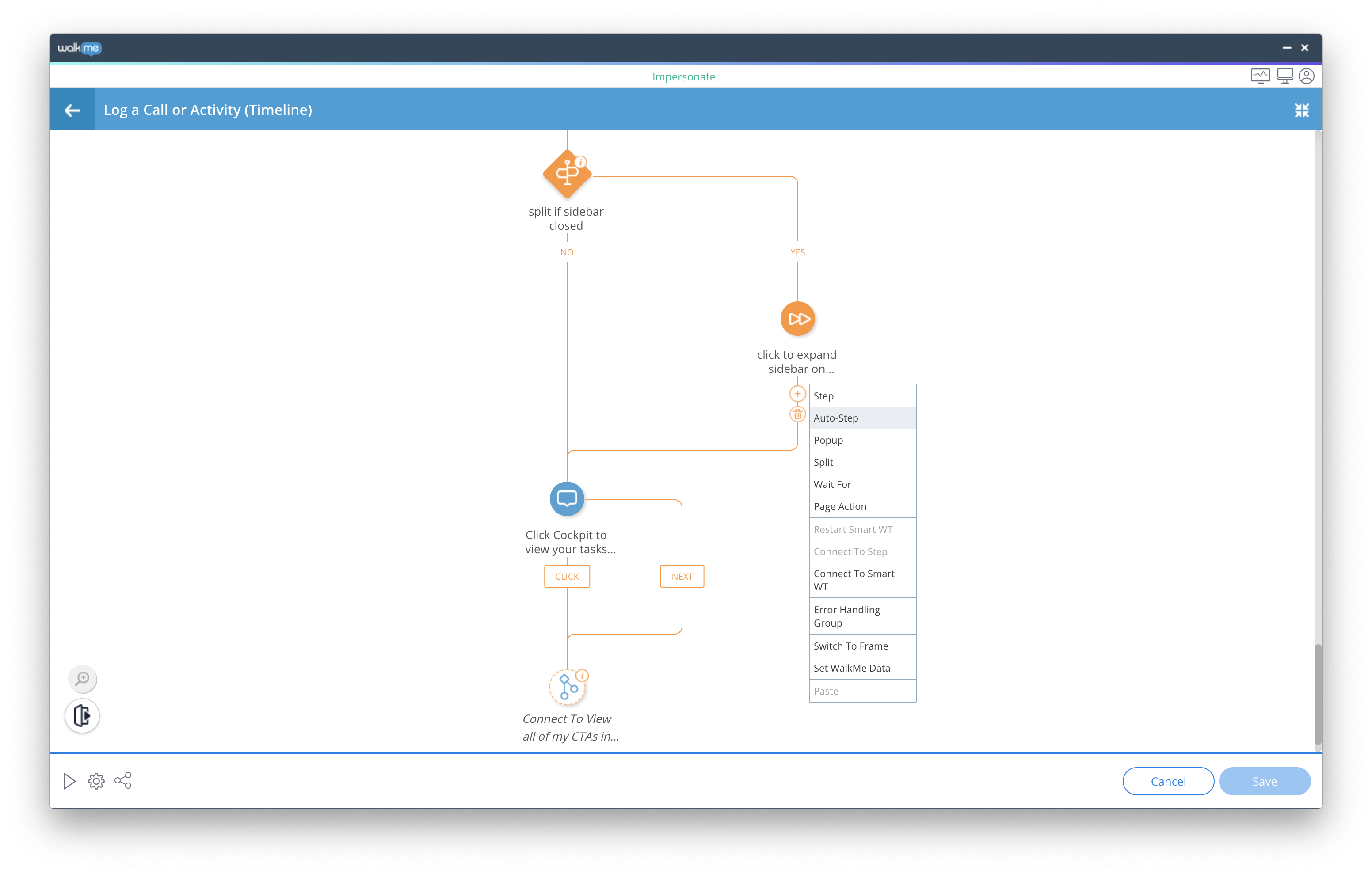 WalkMe's code-free editor allows users to build in-app guidance, contextual tips, popup notifications, surveys and even to easily automate tasks with a custom chatbot.