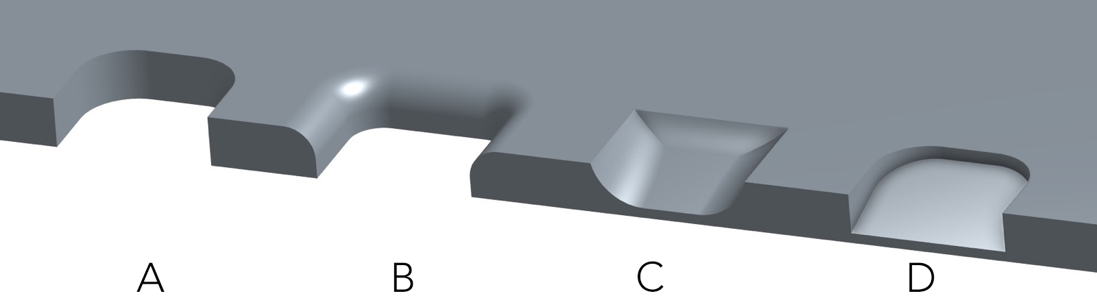 Different designs of the thumb cavity on CoBattery.