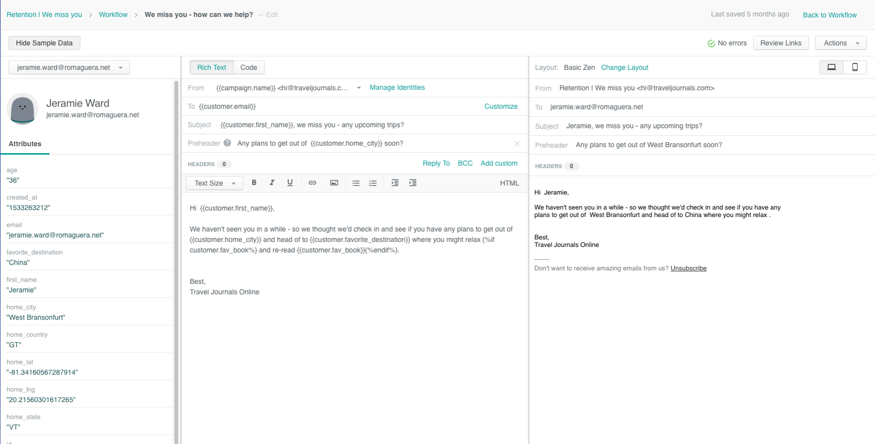Use Liquid logic in Customer.io's email editor for powerful personalization options