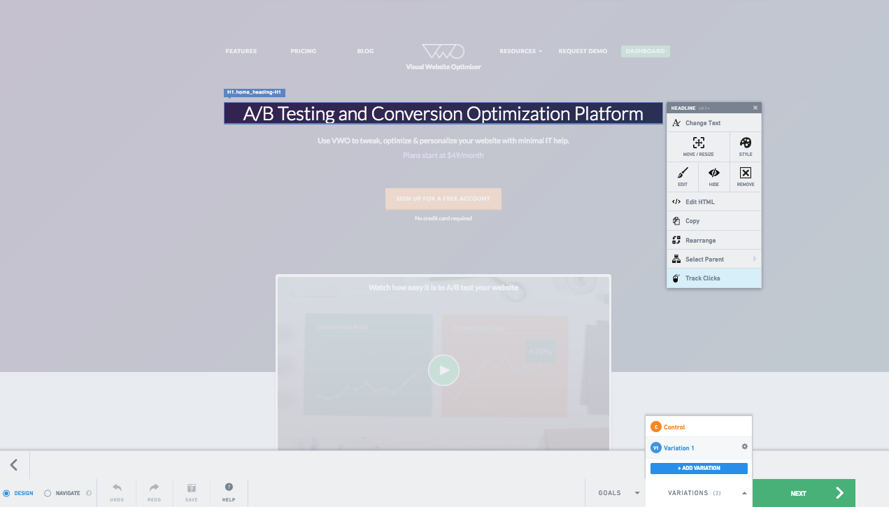 Use the visual campaign builder to set up campaigns such as A/B testing and personalization.