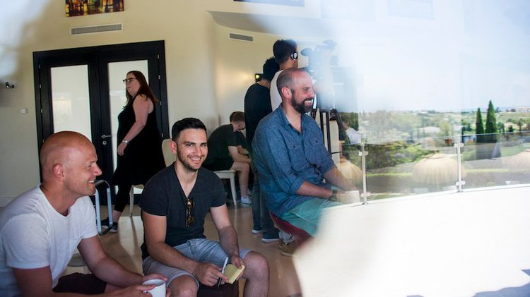 Andrew Michael (center) and the churn team at Hotjar. Source.
