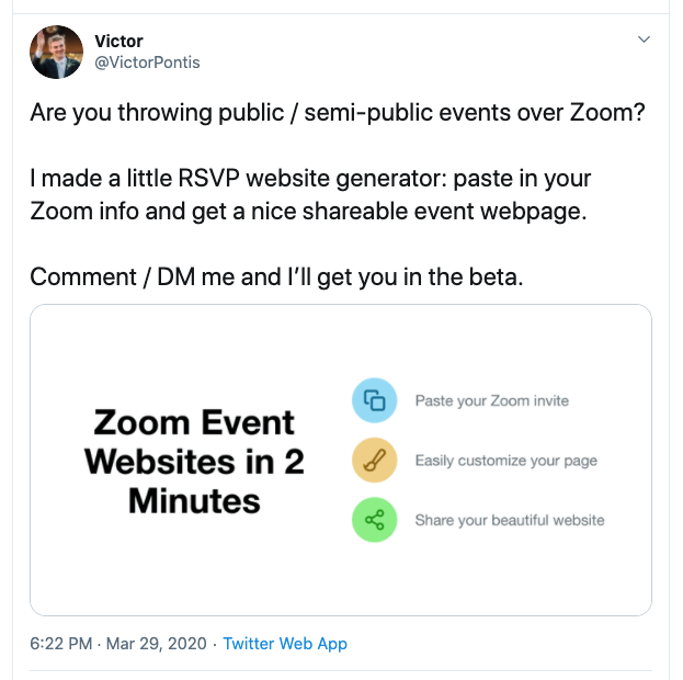 I've met friends, investors, and mentors on Twitter. In March, this Tweet led to Techcrunch covering the launch of ZmURL.