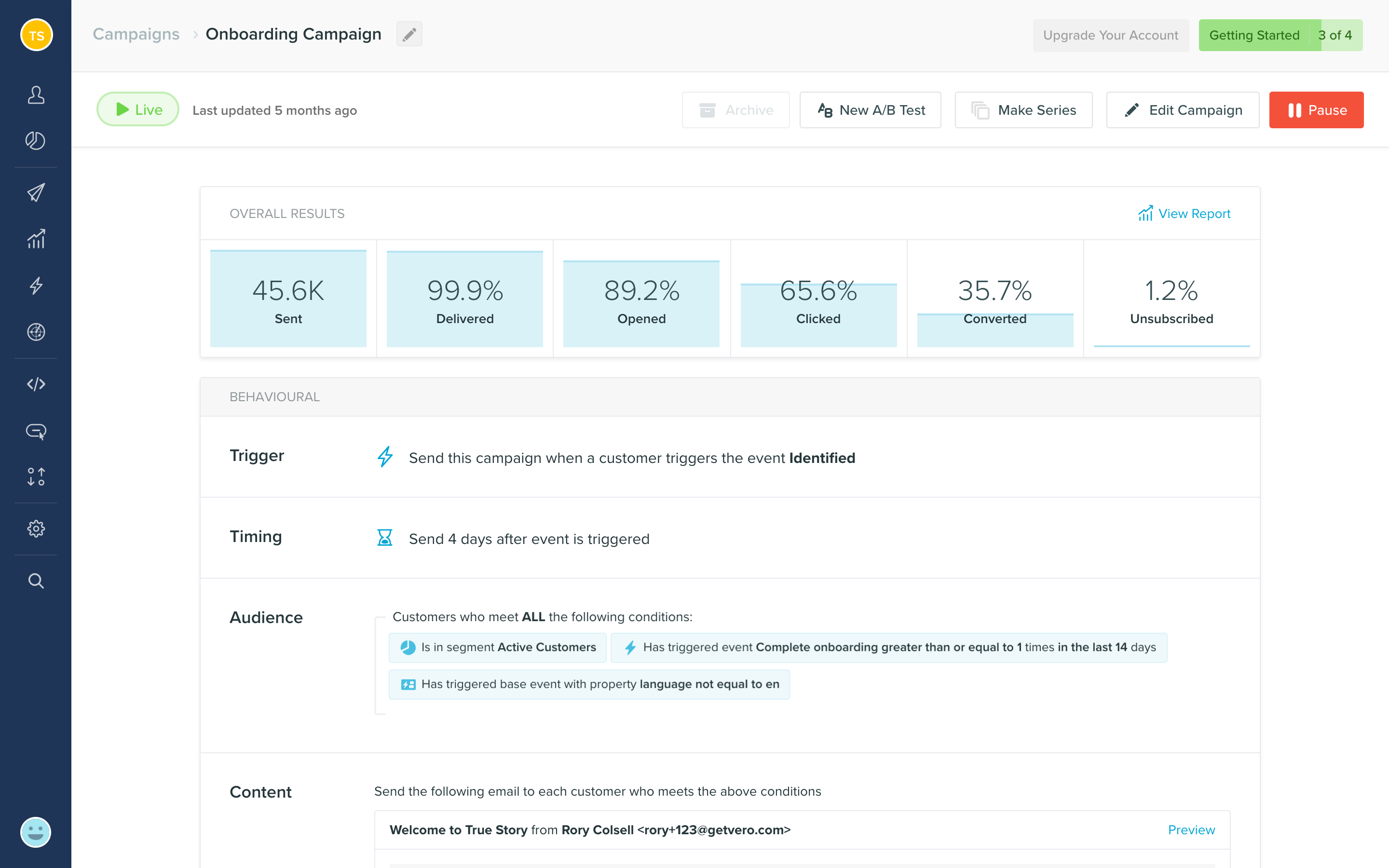 Build automated emails with newsletters and transactional, behavioral, and A/B test workflows.