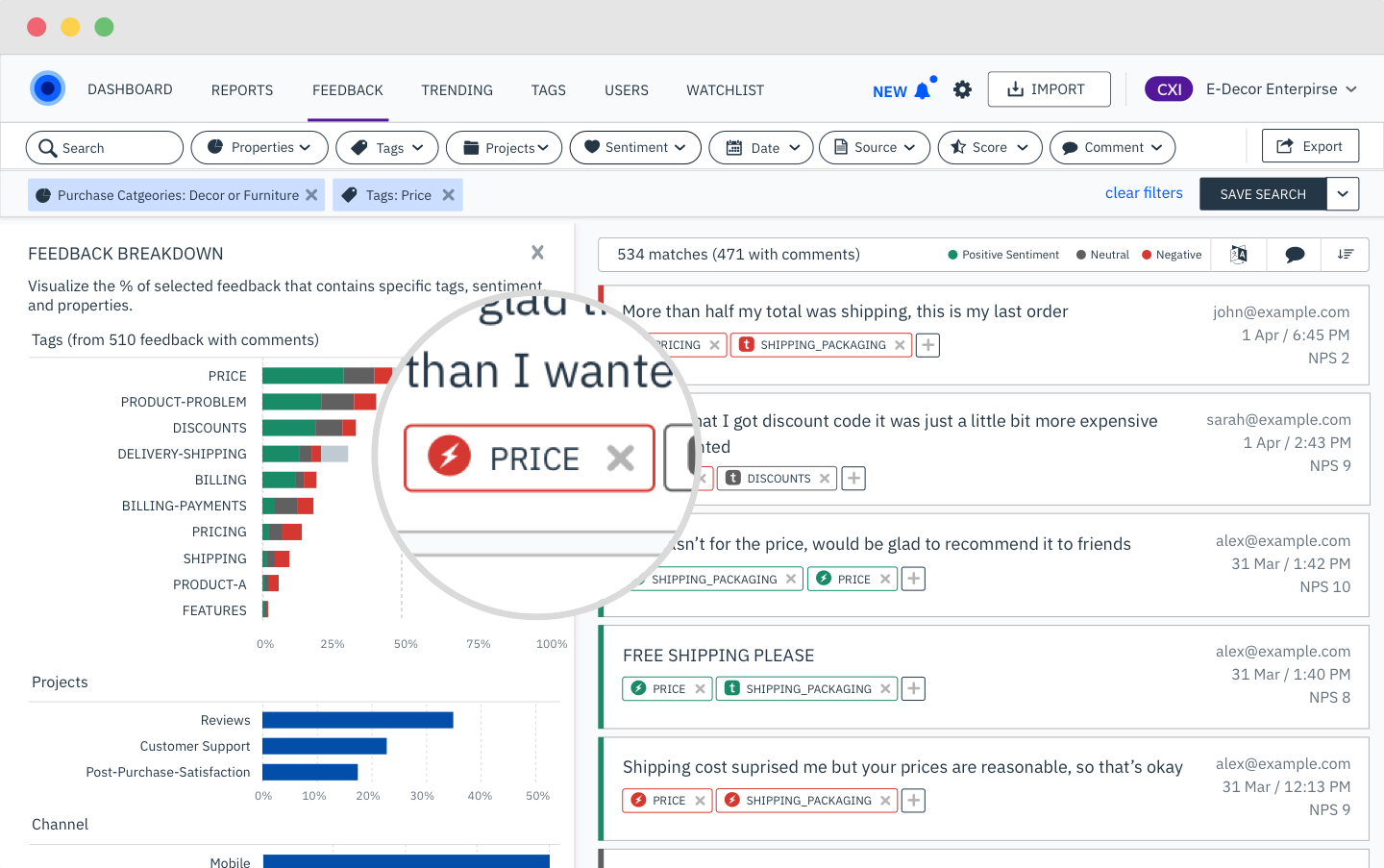 Advanced tagging of qualitative feedback data, including AI-powered categorization and sentiment analysis. Custom dashboards and alerts. Insight without a data analyst.