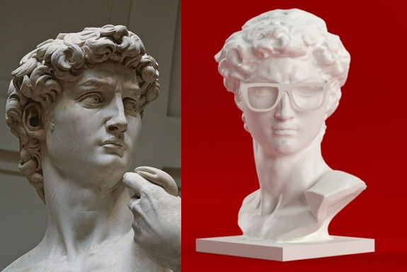 Michelangelo's David and a 3D-printed version from Thingiverse. Can you tell which is which?