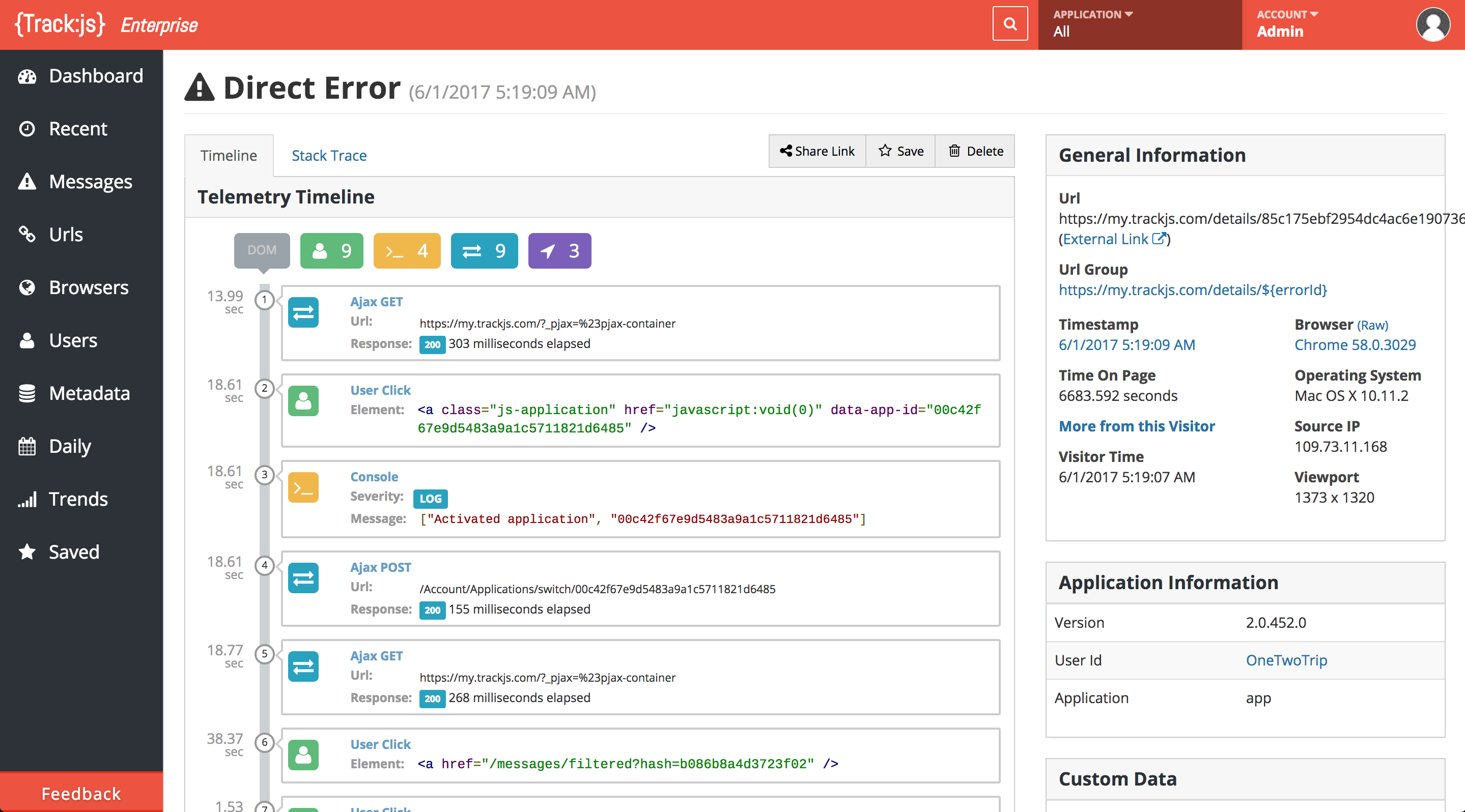 The Telemetry Timeline recreates the network, user, and application events that led up to each error.