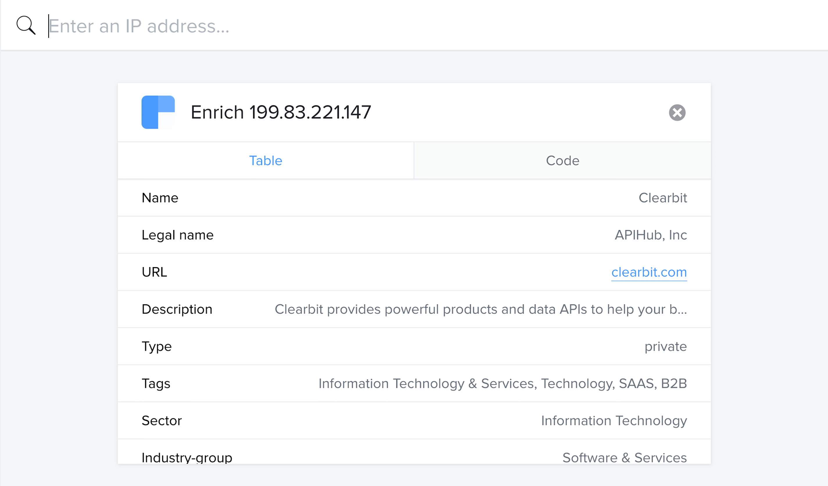 Generate a full company profile based solely on an IP address.