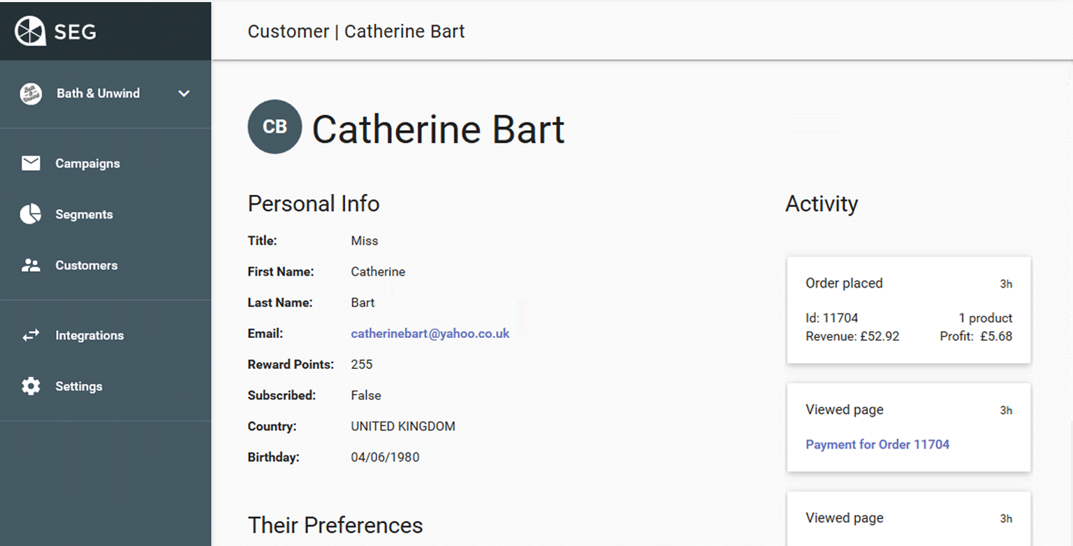 See individual customer profiles built with your e-commerce, website, and email data.