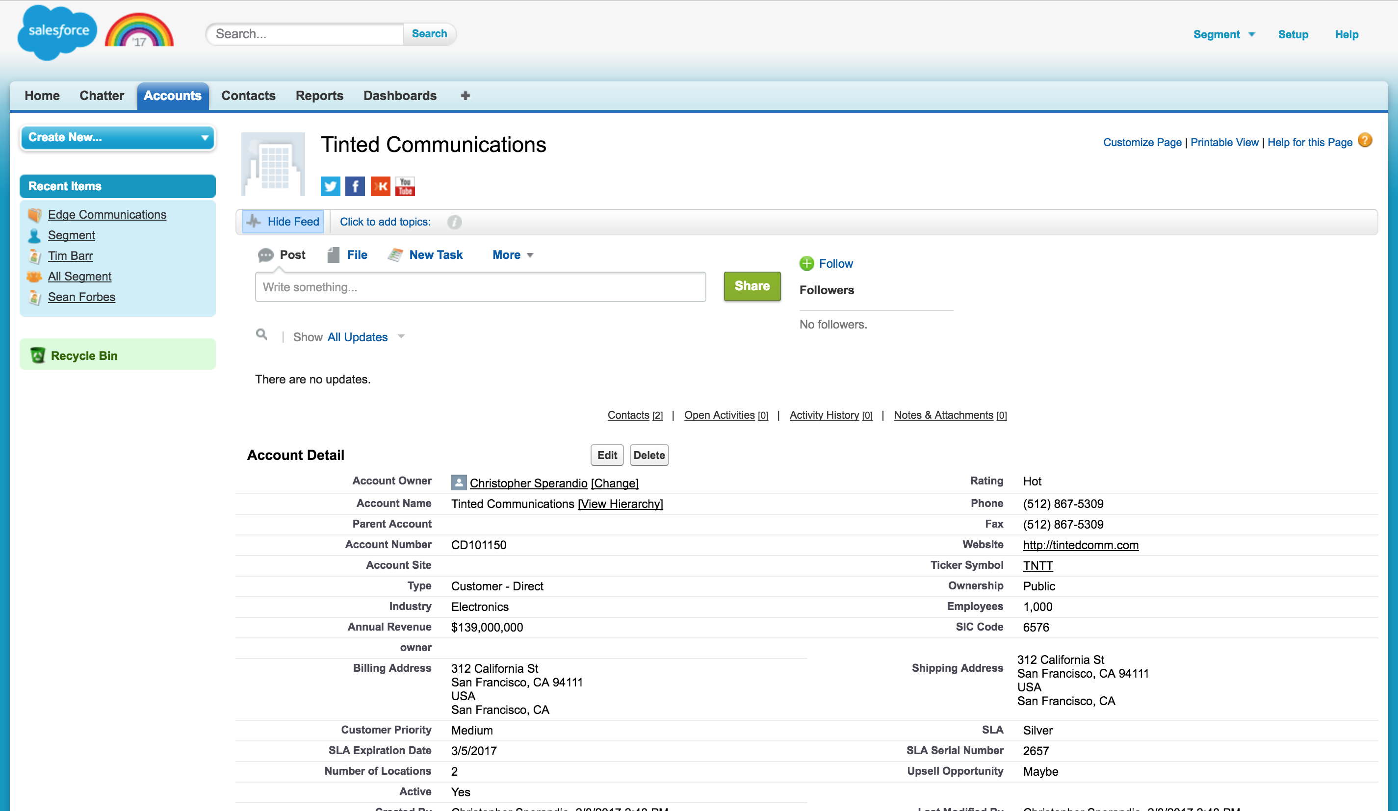 Salesforce functions like a database for your customer and prospect relationships.
