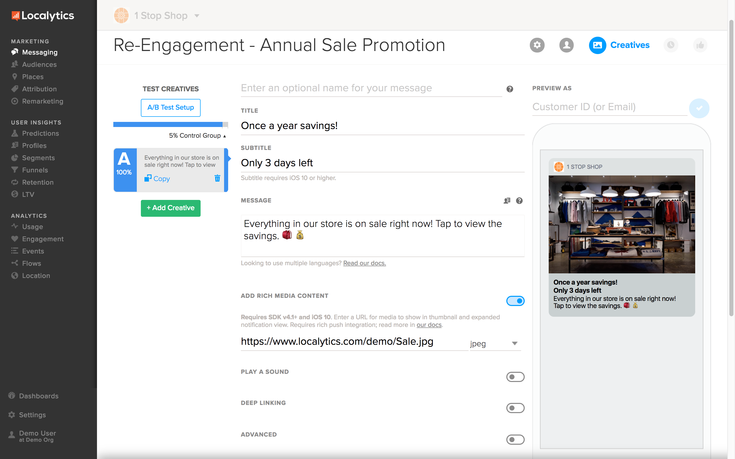 Send targeted push notifications, in-app messages, and Facebook retargeting ads.