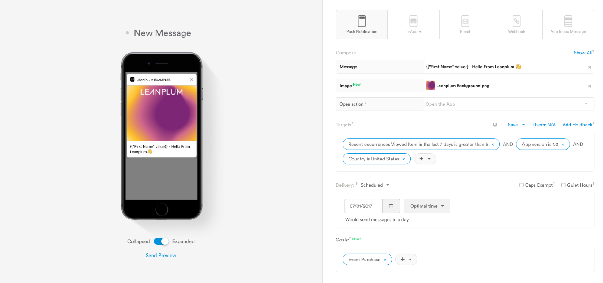 Reach users via mobile push notifications, email, web notifications, in-app messages, app inbox messages, and webhooks