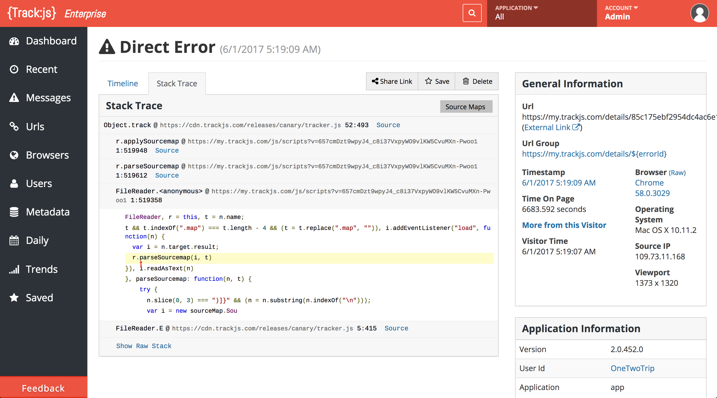 Full stack traces with most errors, including async frames, source maps, and inline source code fragments.