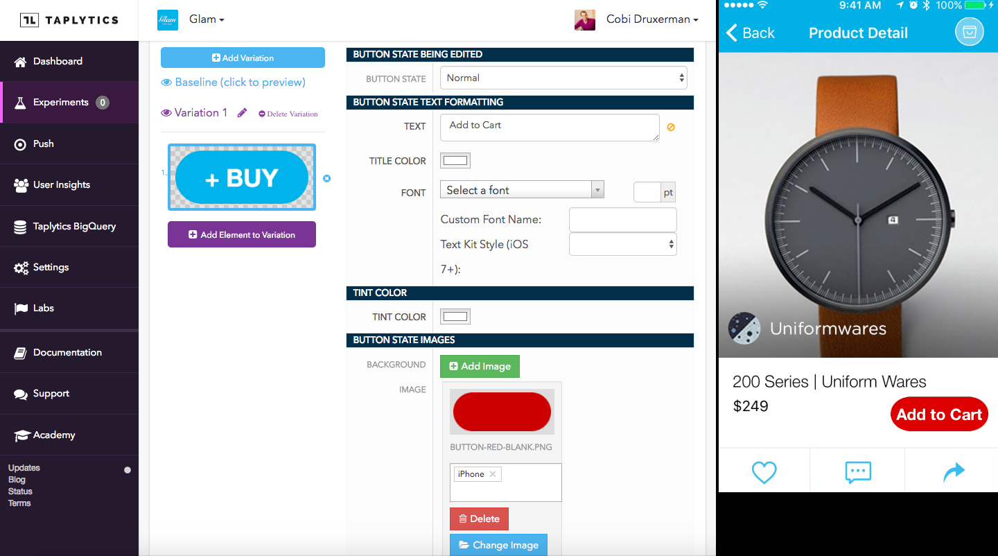 A/B test visual UI changes such as color, text, or placement with the codeless editor.