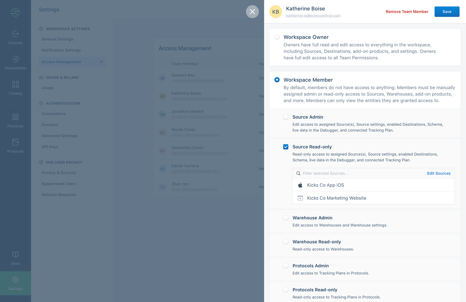 Assign admin or read-only access to specific sources, warehouses, or products from a single UI.