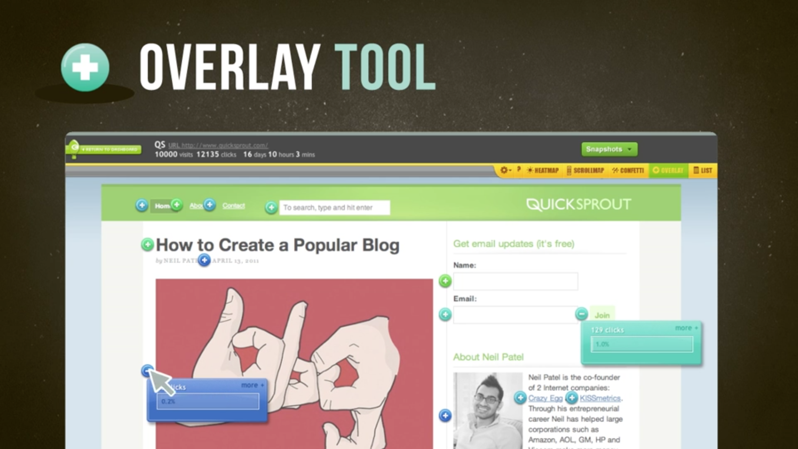 Overlays text with clickable information so teams can see what page elements users clicked on