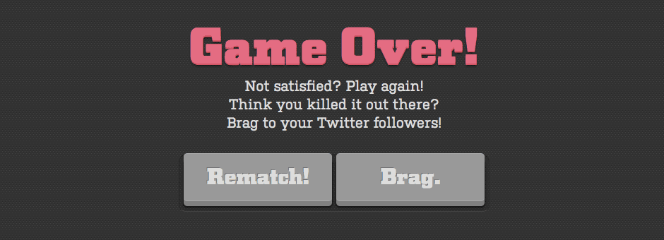 The brag screen at the end of a game of Matchuppps.