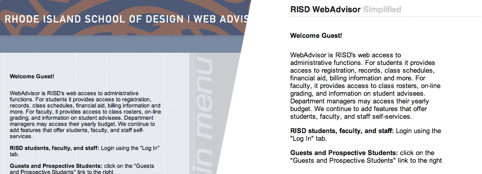 The WebAdvisor interface before and after my extension.