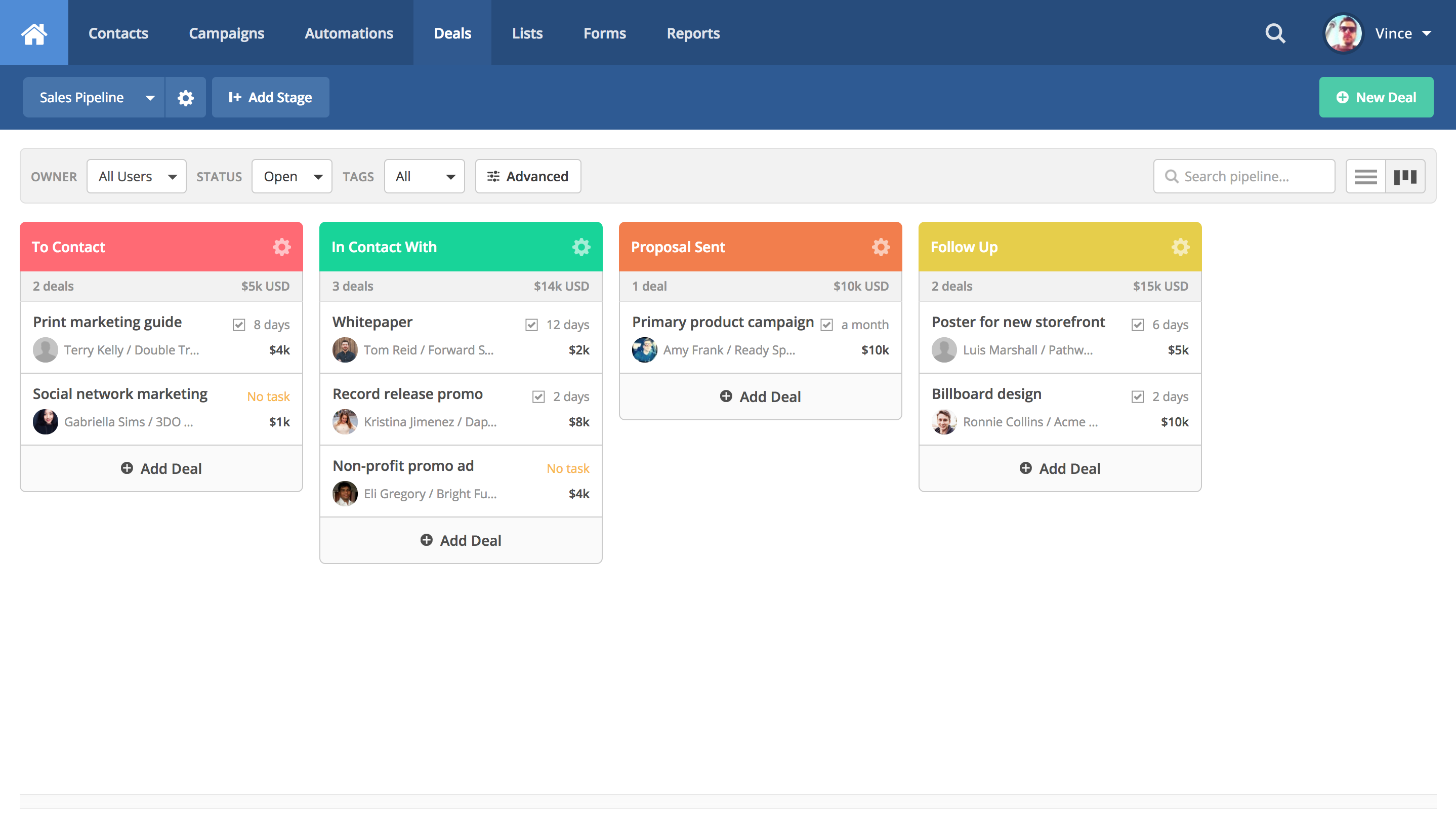 Kanban-style CRM allows you to manage your sales process and automate routine tasks.