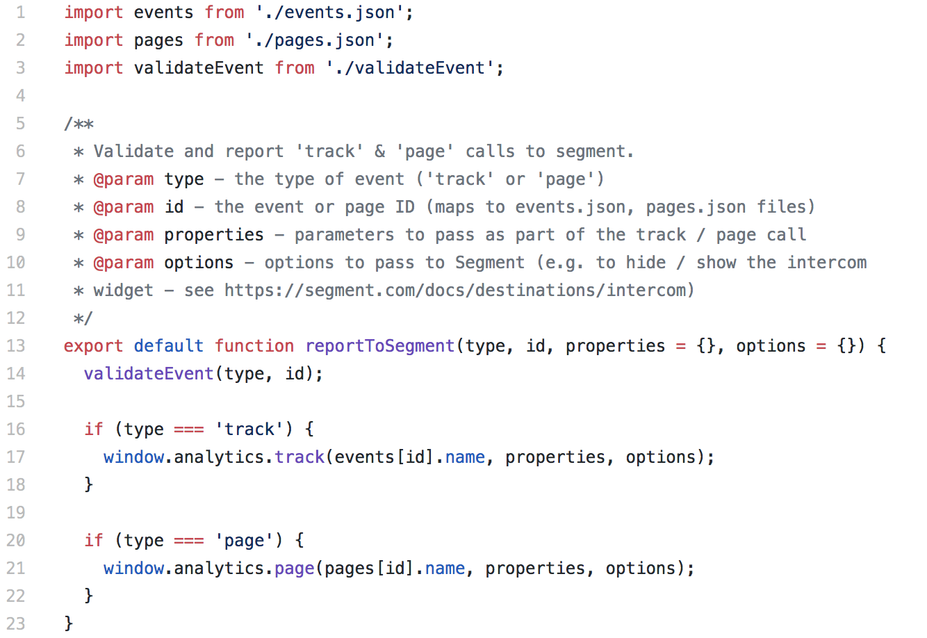 Code snippet of reportToSegment function