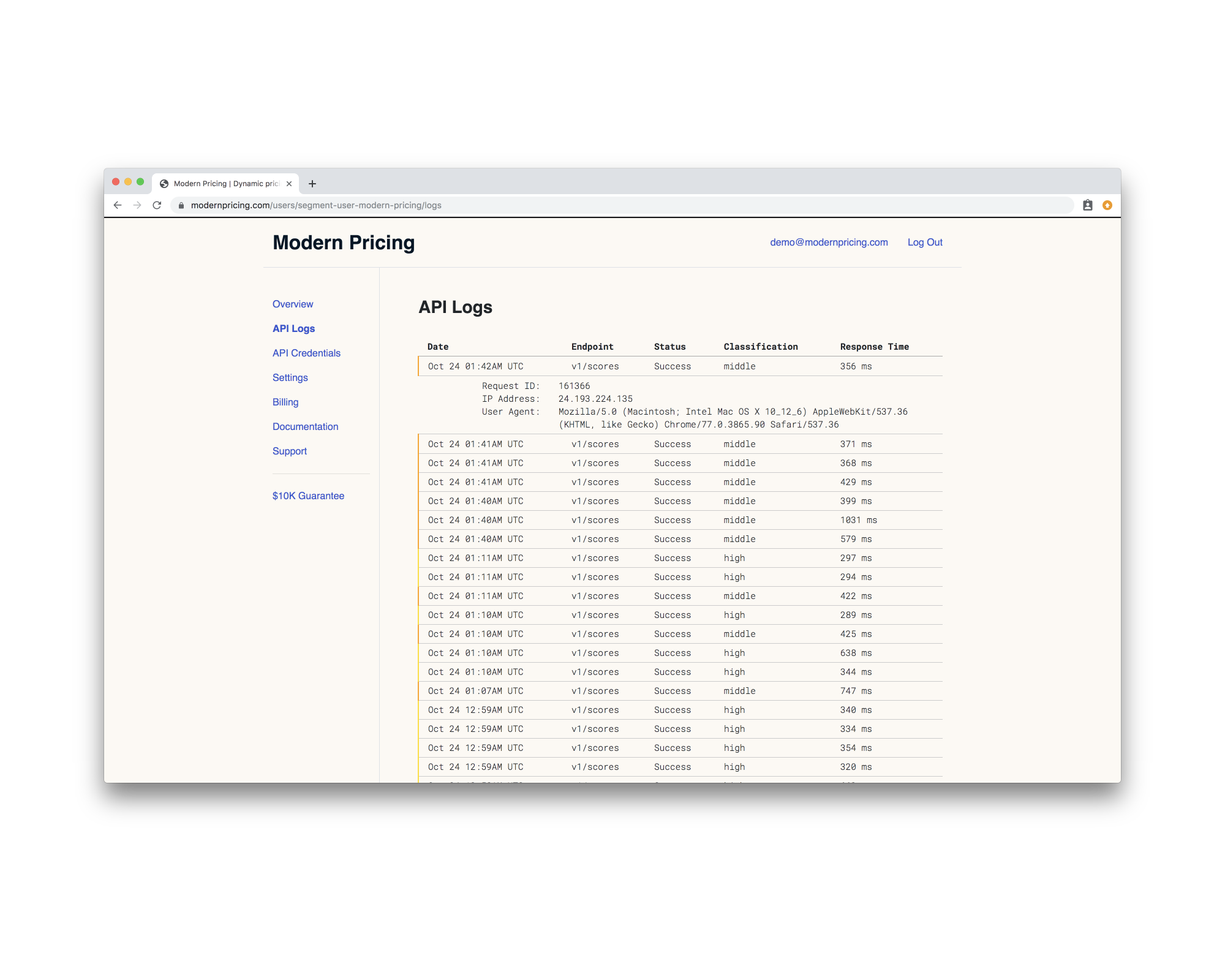 Quickly inspect the results for every call to the Modern Pricing API on your logs page.