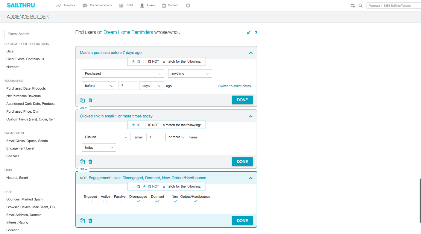 Harness user data to produce custom dynamic segment lists, ad-hoc user reports, and bulk user account updates