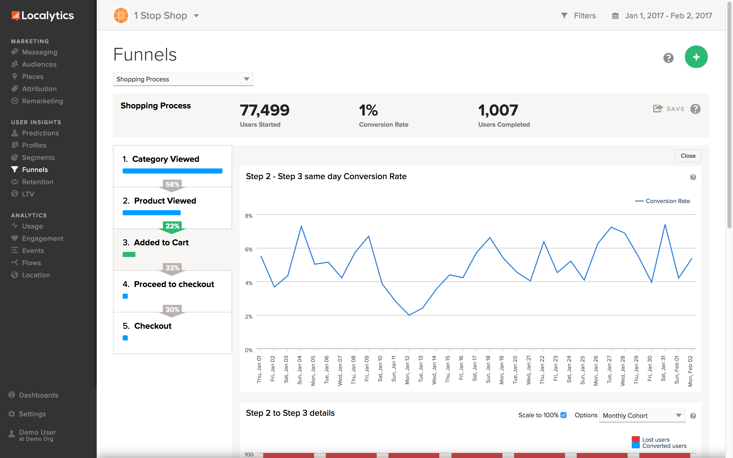Provides a variety of analytics tools to understand users and engagement.