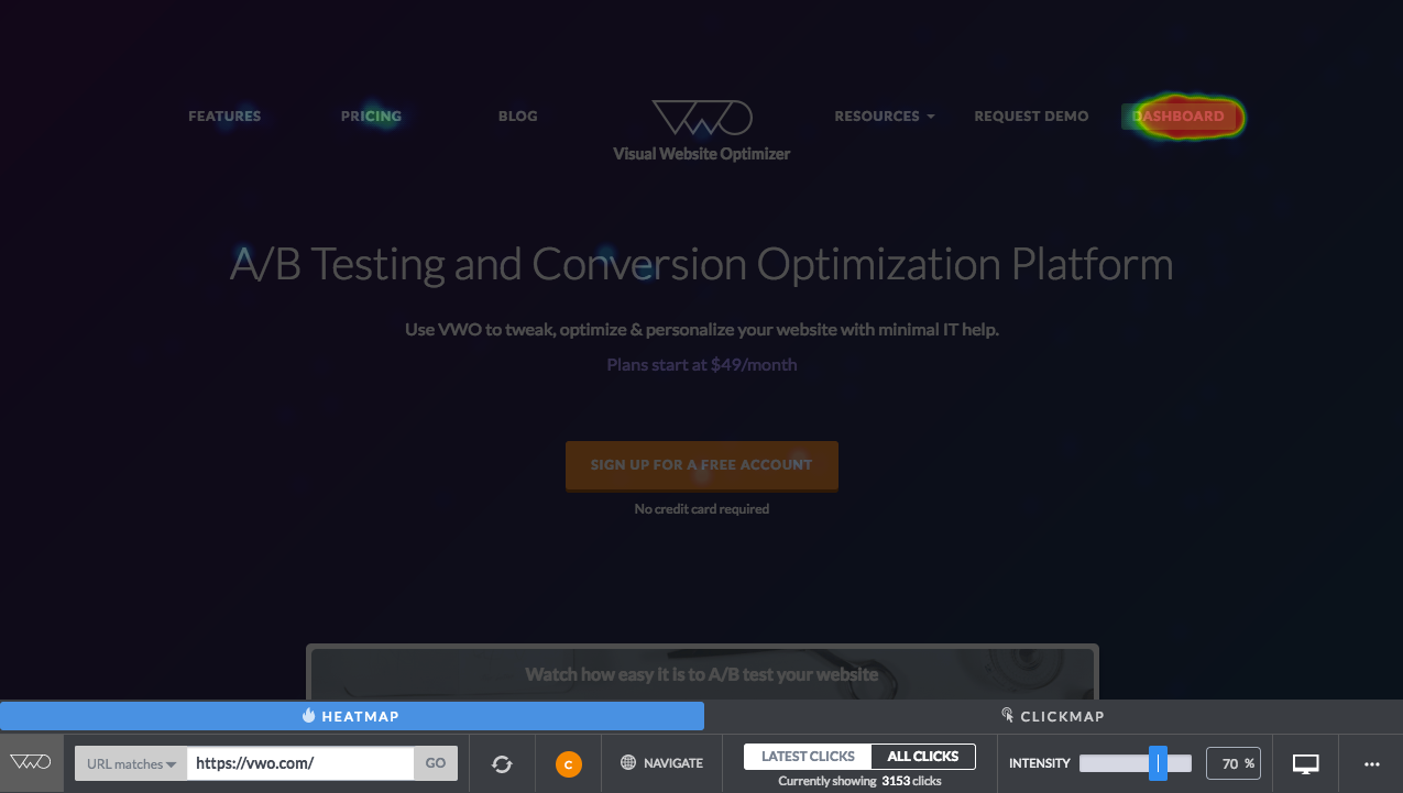 Track visitors' click behavior and browsing habits to inform testing and increase conversion.