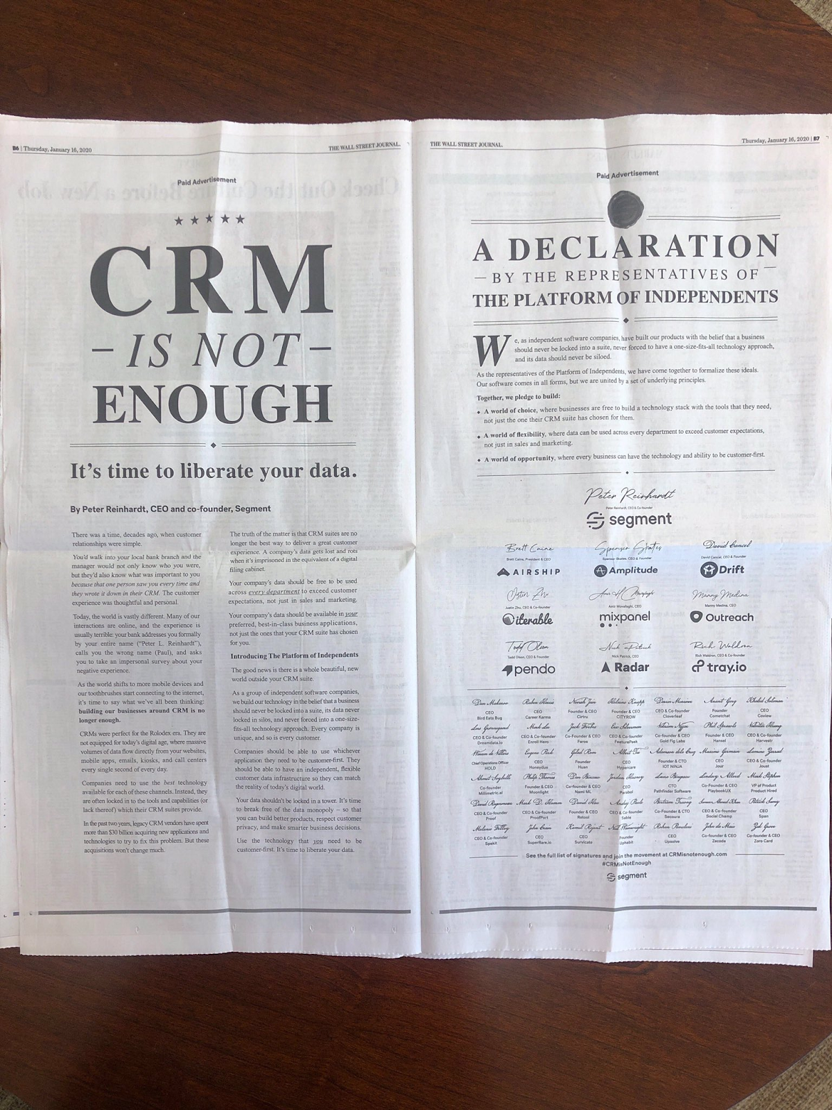 Full-page Wall Street Journal advertisement