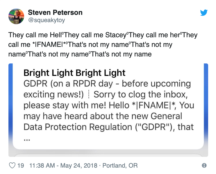 The irony of receiving an email about the GDPR that has bad data in it.