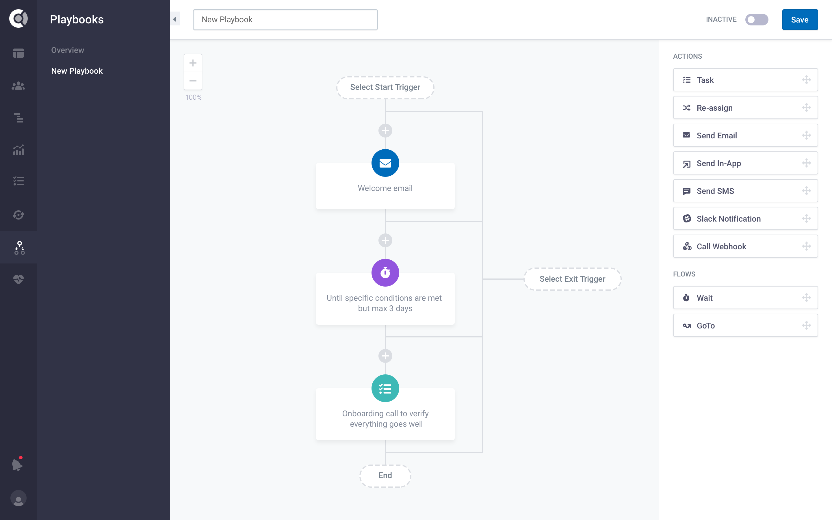 Automate low-touch Customer Success workflows and focus on white-glove tasks.