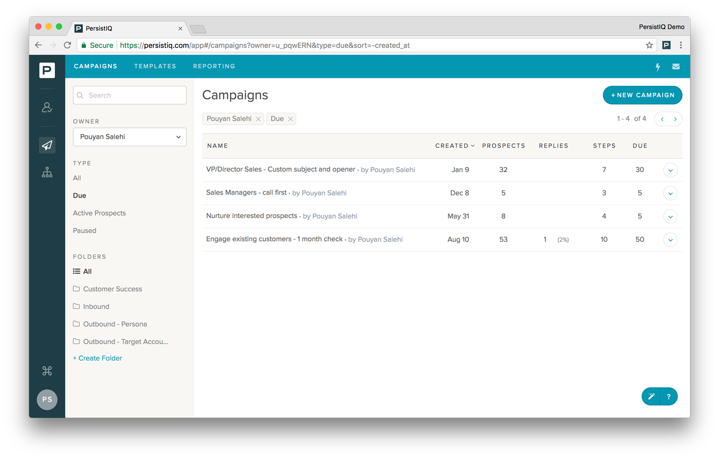 Seamlessly build campaigns which include emails, calls, and tasks with specific wait periods in between.