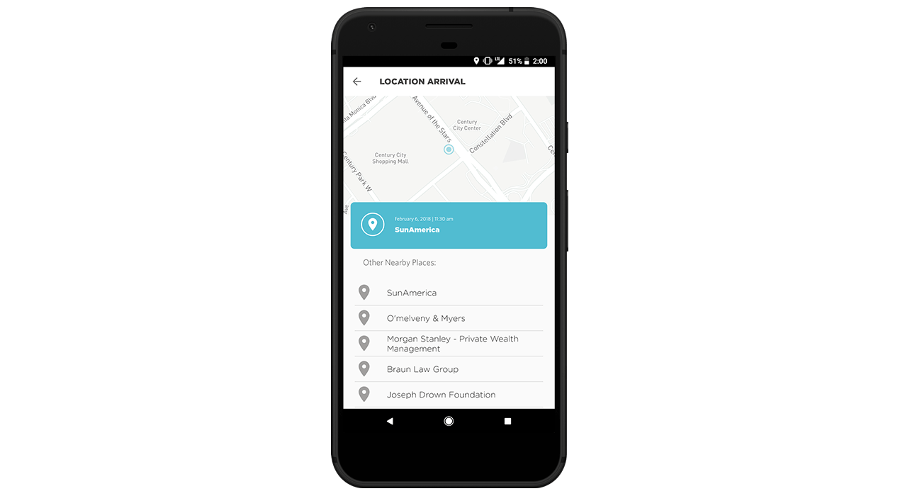Record a user's specific location or nearby places