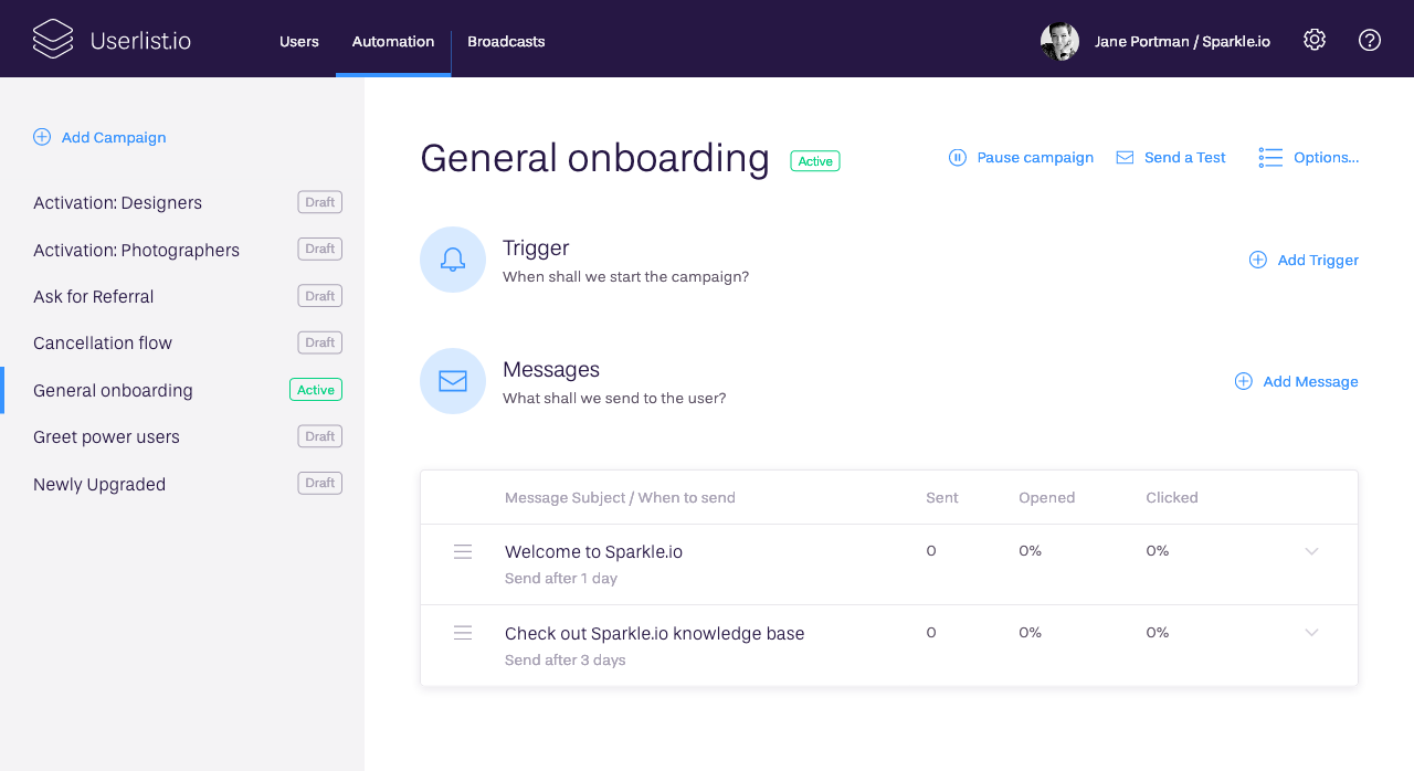 Onboard and retain your users by sending automated email campaigns