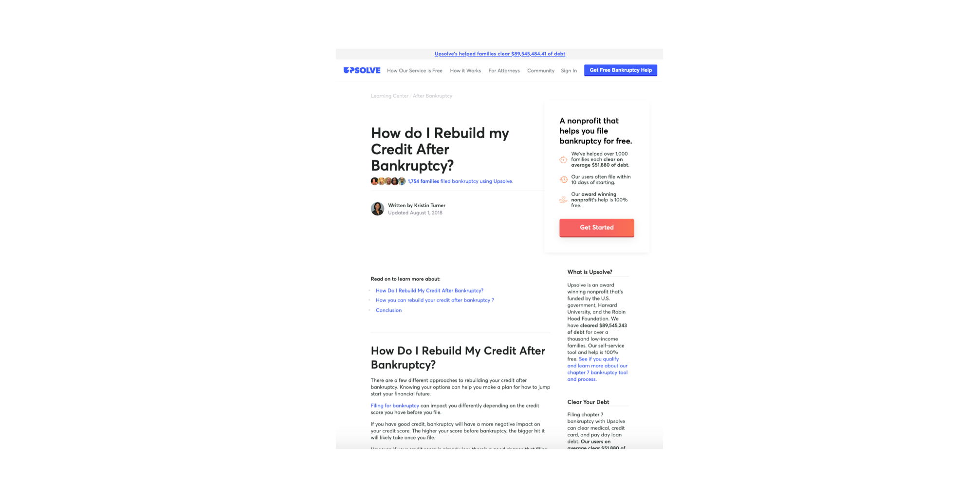 A guide on rebuilding credit after bankruptcy, an example of our editorial landing pages