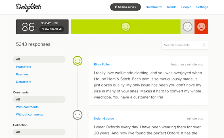 View all customer feedback in one dashboard.
