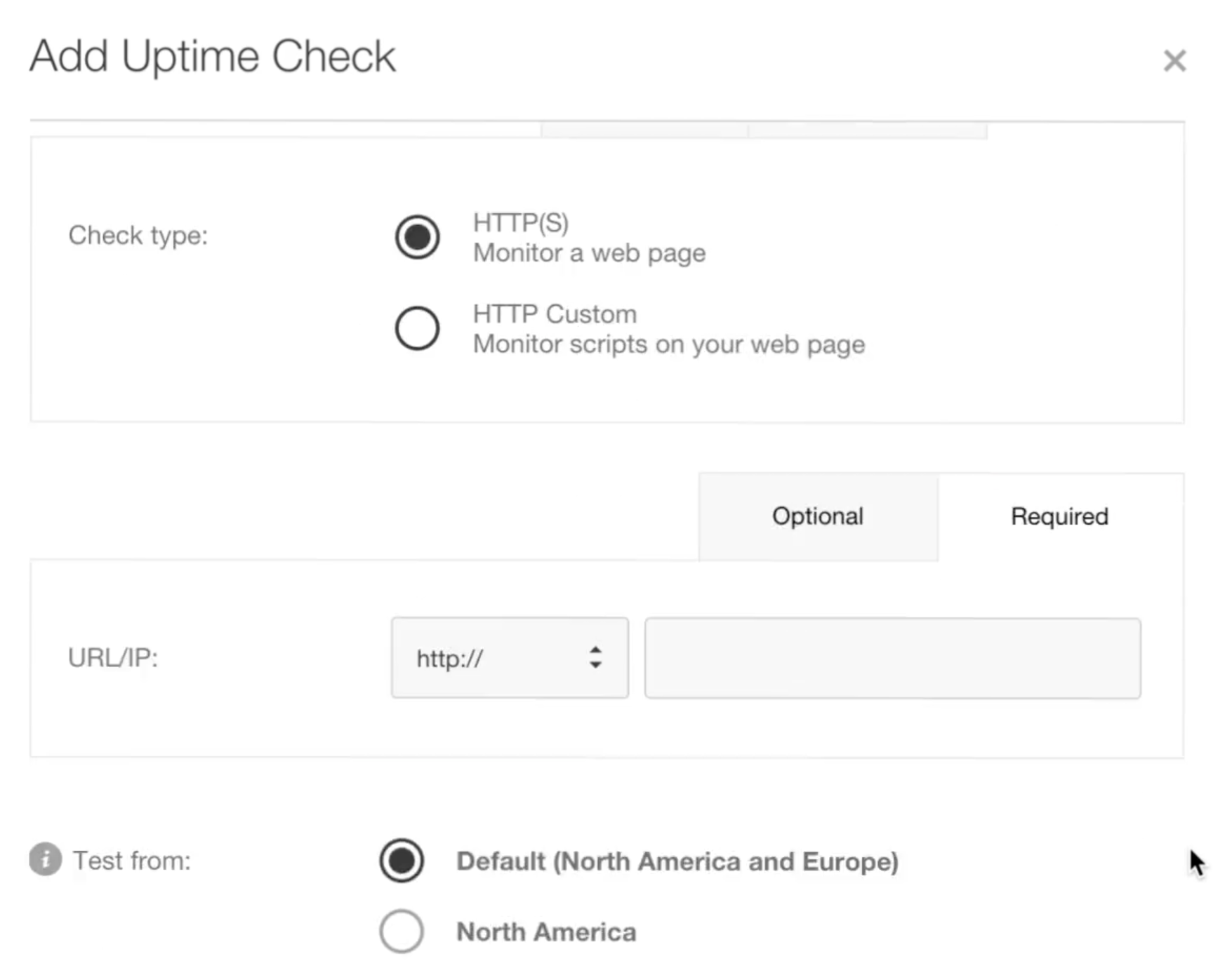 Supports HTTP and custom uptime checks so teams can monitor website uptime from specific locations