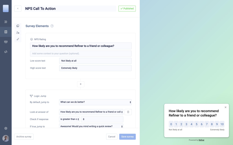 Quickly create beautiful in-app micro-surveys