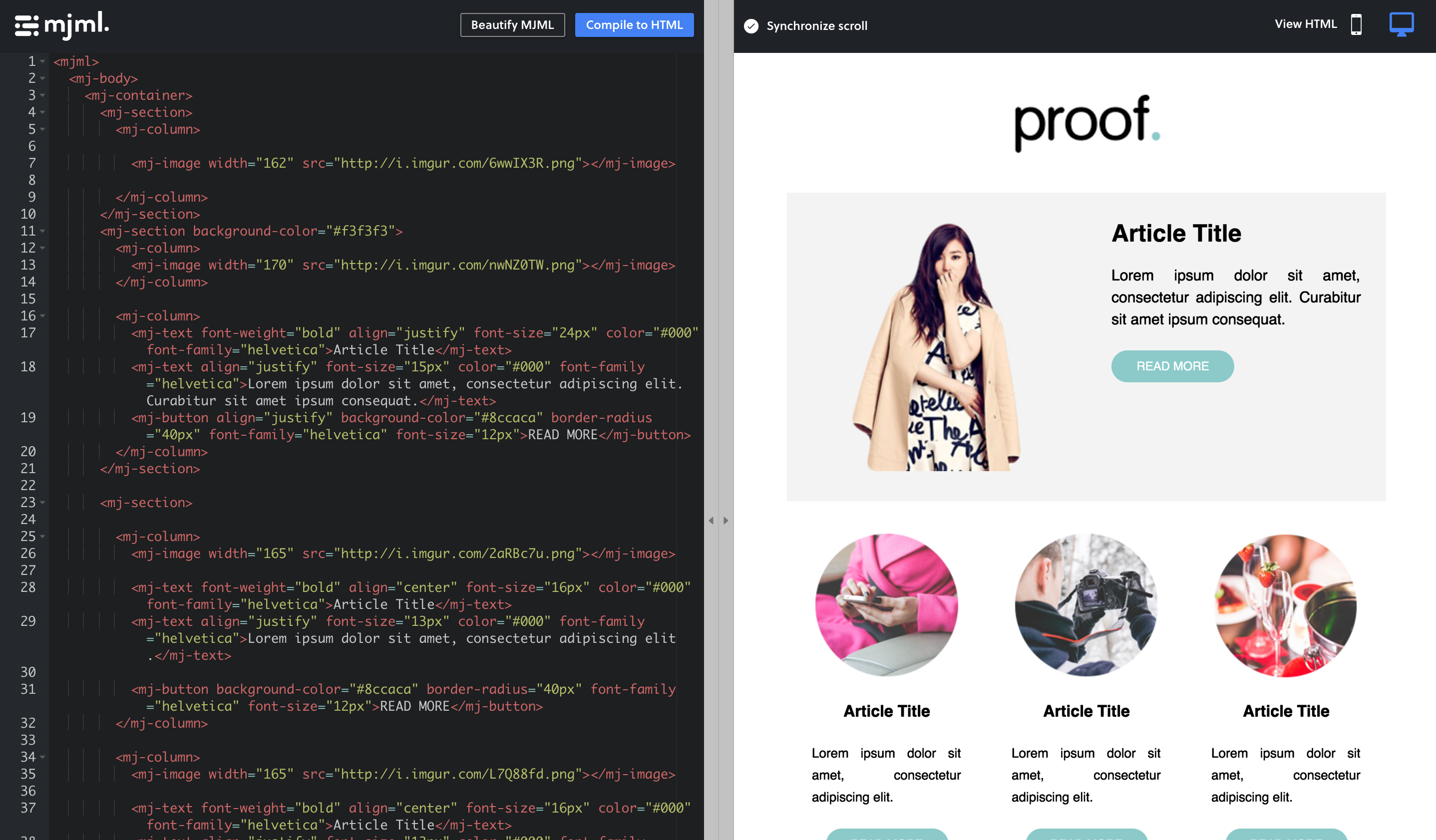 Create responsive emails via a drag-and-drop UI or coding in HTML or MJML, with live preview.
