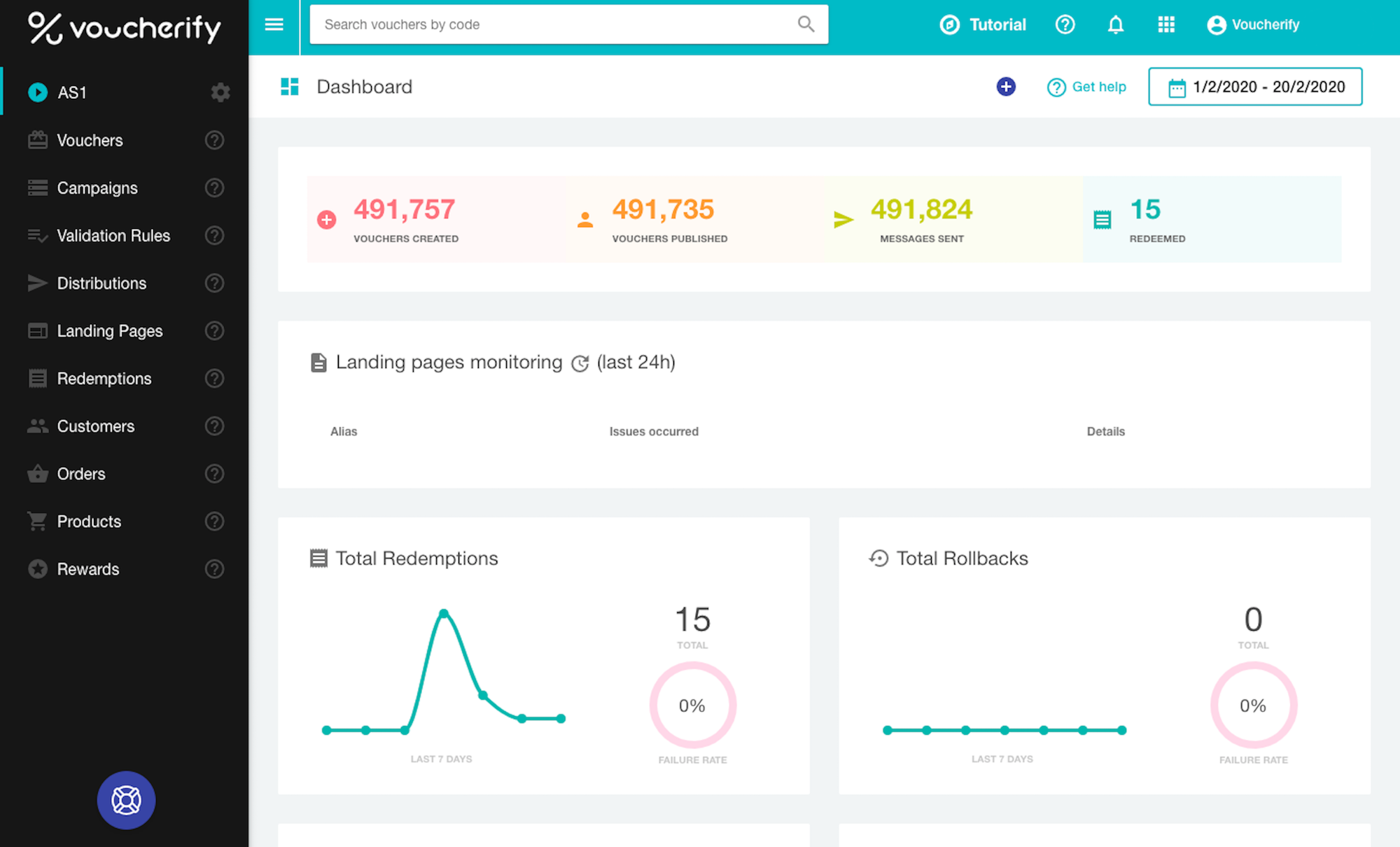 With Voucherify dashboard, marketers can keep an eye on promotions performance with a fine-grained control over every campaign.