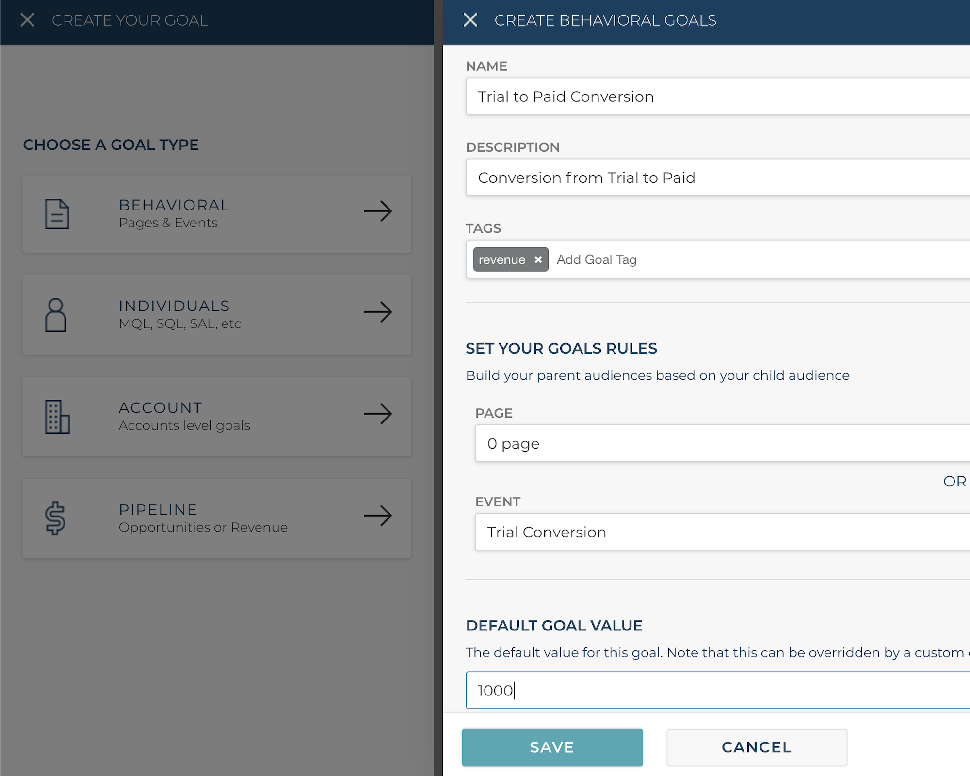 Automatically create goals from Segment events
